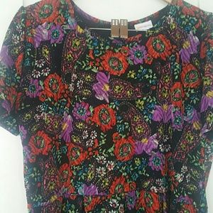 Lularoe zip up black flower dress